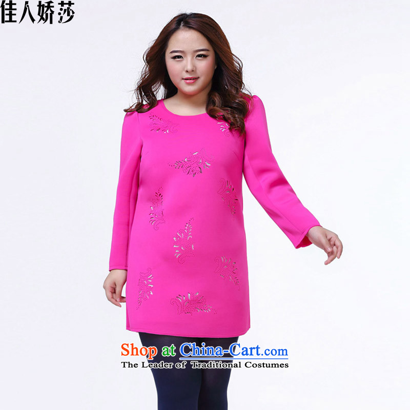 Love to her large female winter thick mm engraving burned out and in Sau San package long skirt female red燲XL