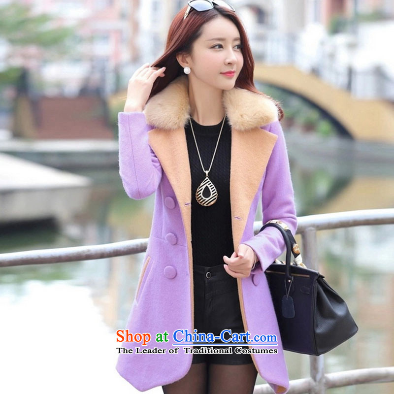 Meijia Garment?2015 winter clothing new double-color spell long suit for gross Sau San?? coats of 1277 gross jacket purple?L