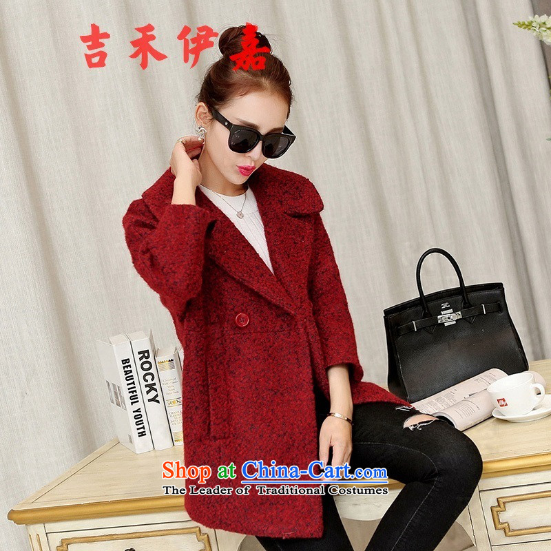 Gil Wo Ika 2015 autumn and winter new Korean Dongdaemun gross? in thick female jacket long winter coats, wool? BOURDEAUX燬