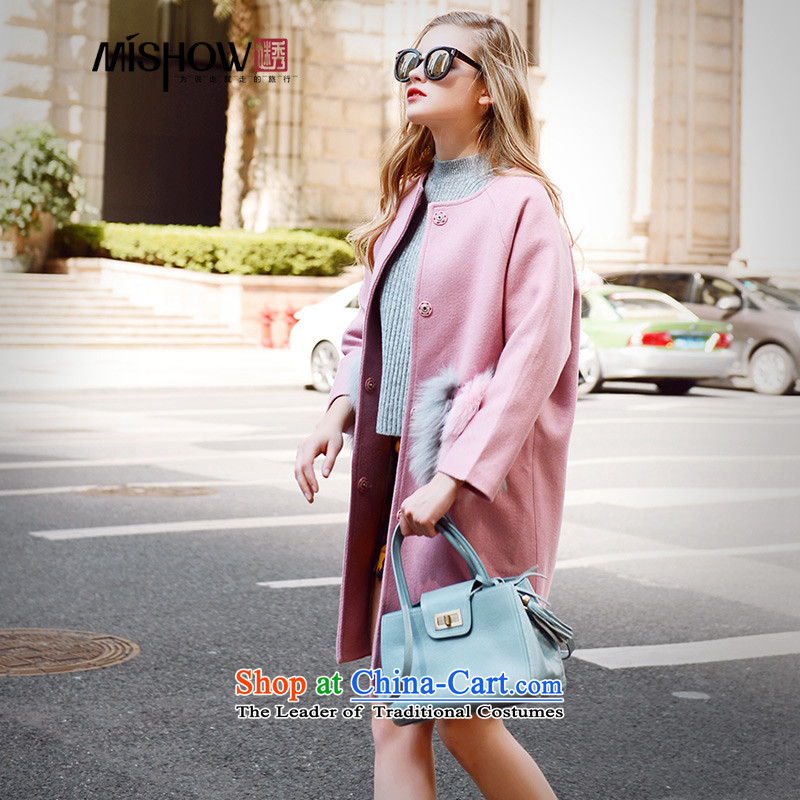 Use Show 2015 autumn and winter new nuclear piga lint-free in warm Thick Long ladies hair so Sau San Jacket coat female pink M