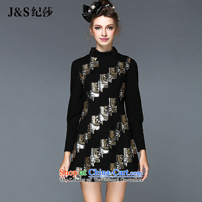 Elizabeth 2015 Western style and discipline Fall_Winter Collections for larger female new dresses thick mm Heavy Industry on-chip to xl graphics thin聽Q118- Sau San temperament聽3XL black