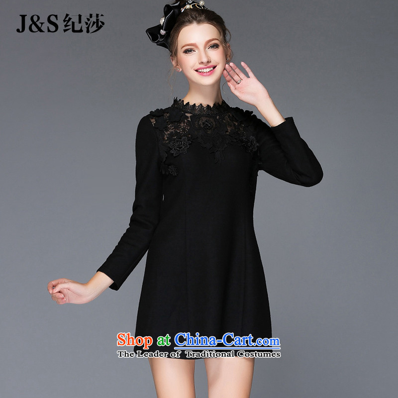 Elizabeth 2015 Western brands discipline high-end winter larger female new lace dresses long-sleeved stitching thick solid mm a skirt Q202- thin black 2XL Graphics