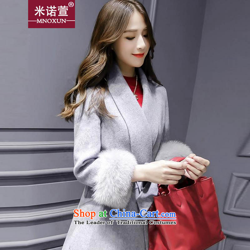 Mineau Xuan _2015 autumn and winter new v-neck? coats that long jacket K808 gross Sau San? Gray L