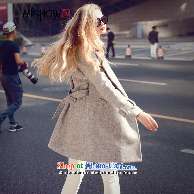 Use the燦ew Winter 2015 Sau-han version V-neck in long-sleeved long folder cotton warm jacket coat? female gross gray燤