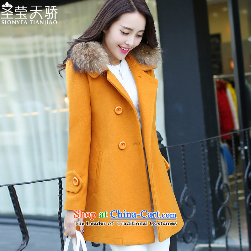 The holy day average 2015 Ying autumn and winter new women's gross jacket Korean big?   in code long coats SY596 Yellow?M