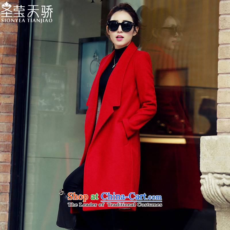 The holy day average 2015 Ying autumn and winter coats gross new stylish Korean?   in the medium to long term, a wool coat SY515 RED?M