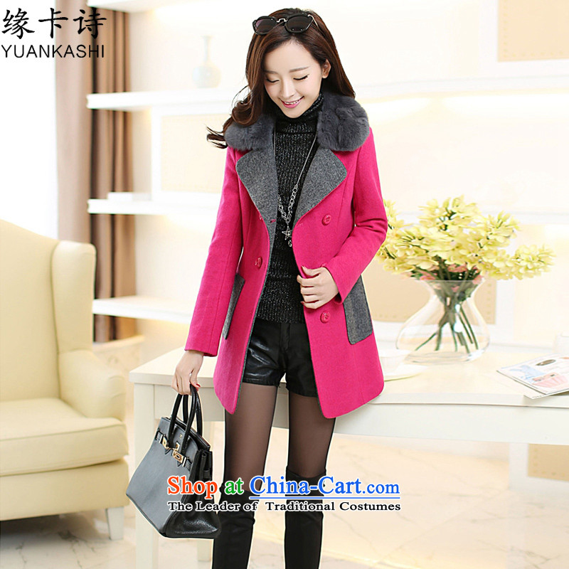 Edge Card poem 2015 autumn and winter new women in Korean Sau San long hair really for gross? female thick coat of coats red L