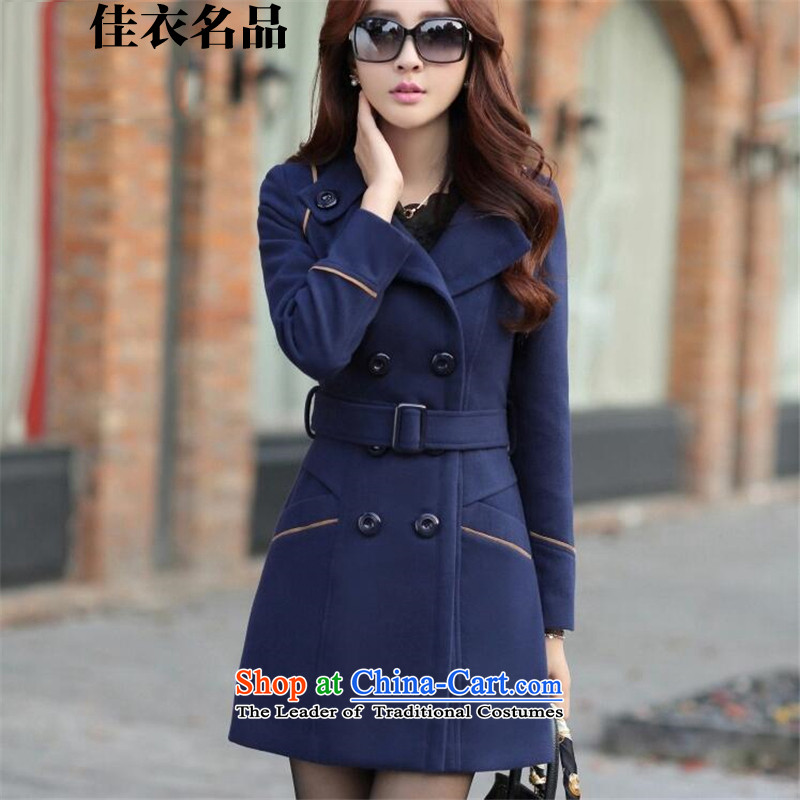 Better, Yi 2015 autumn and winter new products for women new Korean version of Sau San? In gross jacket long a wool coat cashmere M8097 navy XL