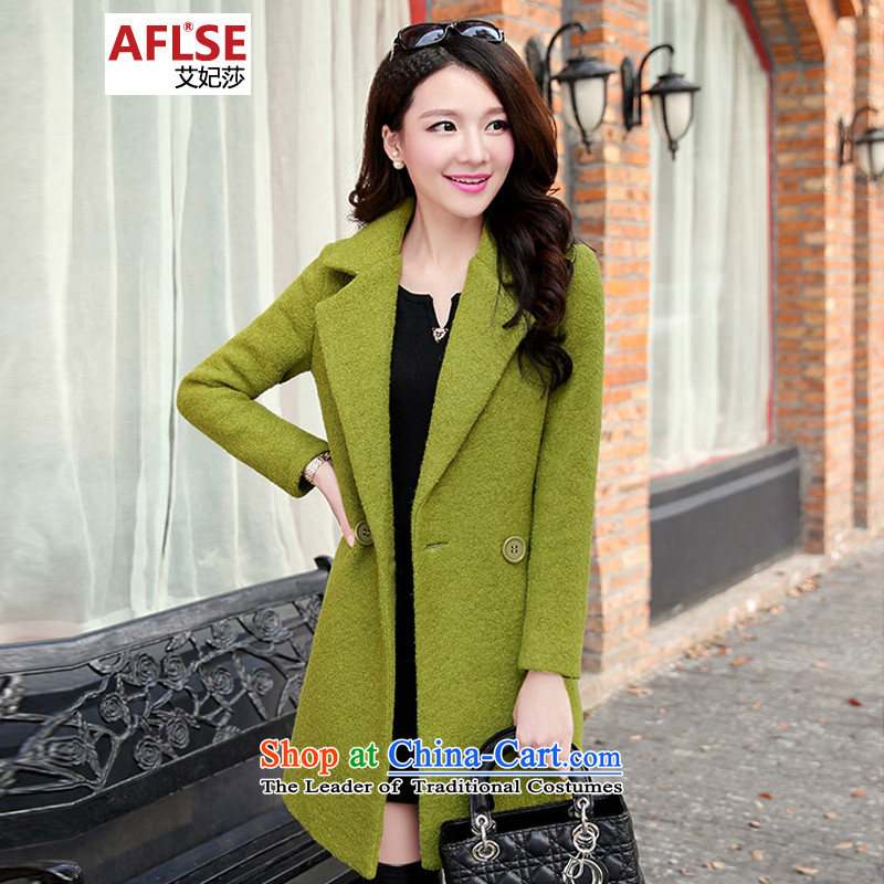 Elizabeth Princess HIV gross? 2015 autumn and winter coats the new Korean fashion in the Sau San long suit for gross? jacket coat cashmere female DMGY1085 GREEN燤