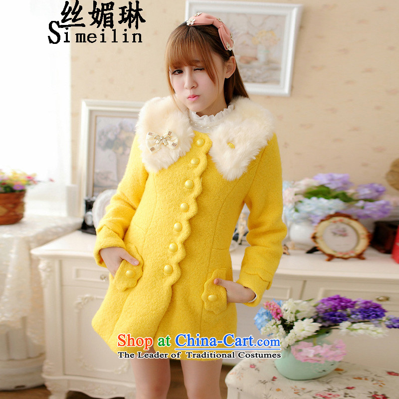 The population of New Winter 2015 Lin Korean girl in gross? jacket long thick hair for elegant temperament coats Yellow XL