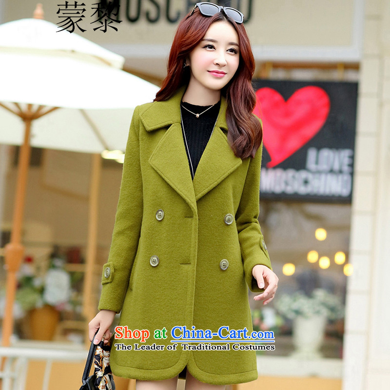 Montevideo Lai Winter 2015 new products simple plain colors with wool coat in a wool coat long coats_? female OL commuter canola green燤