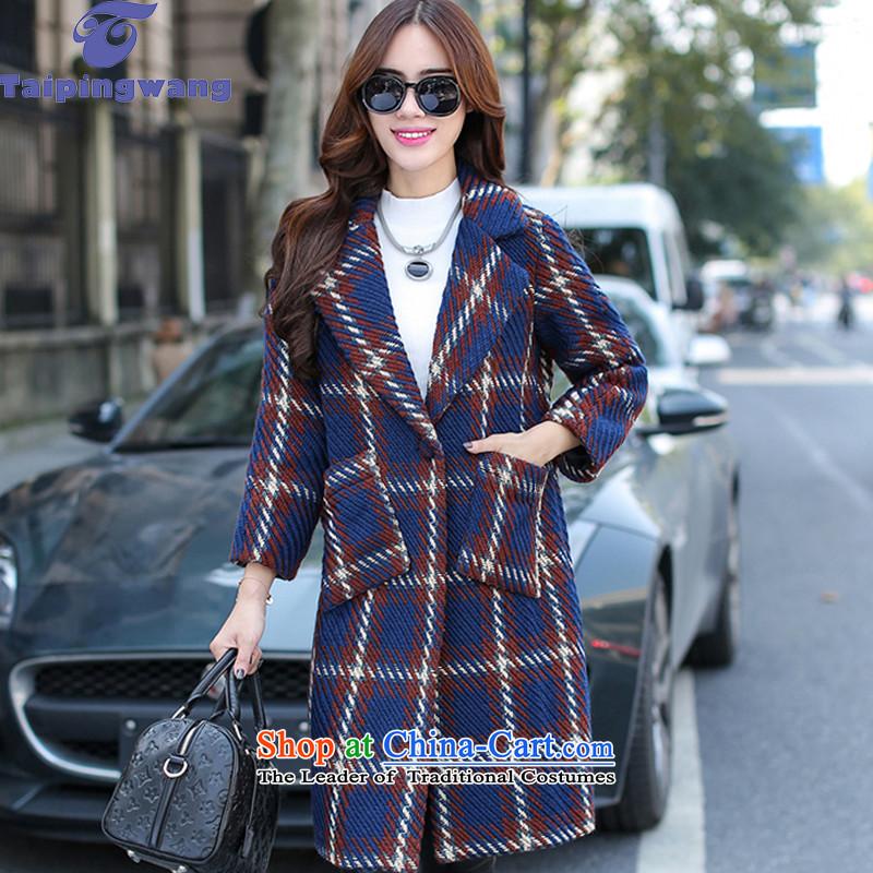 2015 WINTER new taipingwang, coats that long hair? coats femalenavy grid 3182M