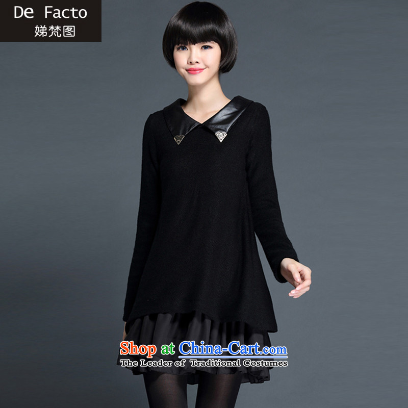 To Van Gogh figure for autumn and winter 2015 new Korean version of large numbers of ladies thick MM loose video thin forming the dresses聽D80607 female聽black聽XXXXL195-215 catty