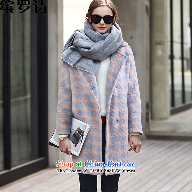 As of 2015, poetry Fall_Winter Collections of new small incense wind chidori. long coats gross? a jacket girls female qnr7792 light blue cotton folderM