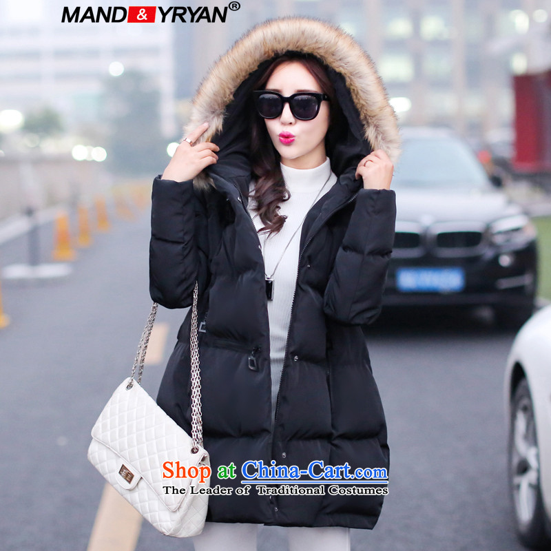 Mantile en code women thick cotton coat girl in long cap on the Nagymaros collar robe thick sister A field of black jacket coat thin graphics poor black MDR8148 XXXL150-160 left