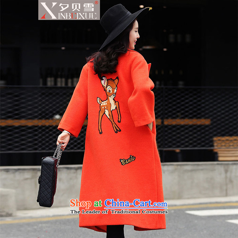Overnight Snow Winter 2015 Addis Ababa new Korean girl in gross? jacket long plaque than deer Sau San embroidered wool coat female orange燤?