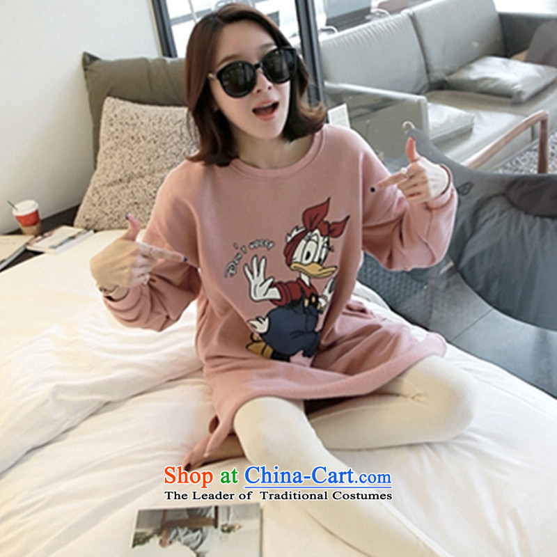 2015 Autumn winter new Korean version of large numbers of ladies thick MM loose, Hin thin, thick 200 catties thick sister in long thick plus lint-free kit jacket sweater and pink XXL
