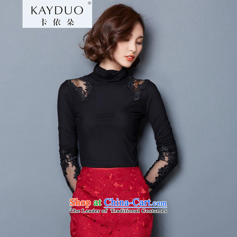 In accordance with the flower KAYDUO CARD 2015 autumn and winter new Korean girl who decorated large thin plus video lint-free thick gauze forming the long-sleeved shirt with lace Lace up black high collar 5123 XL