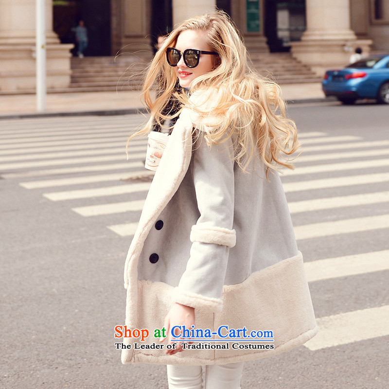 Use the New Winter 2015 Sau-han version elegant thick plus lint-free warm long-sleeved jacket coat cotton wool? female Blue M