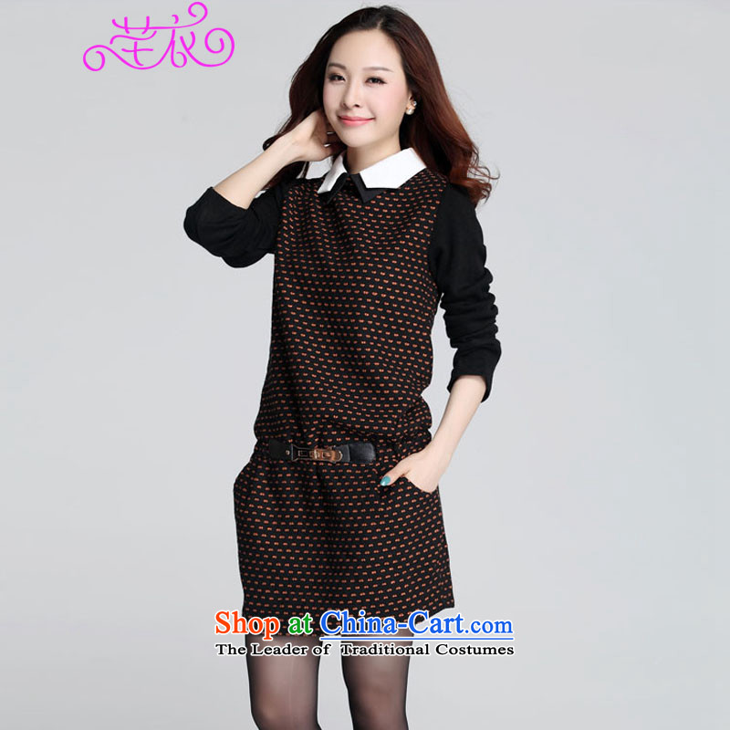 Xl Kumabito Women 2015 plus the new Korean obesity mm long-sleeved shirt, forming the Sau San knitting collar gross? Fall_Winter Collections dresses yellow dot�L cost between HKD150-170 catty