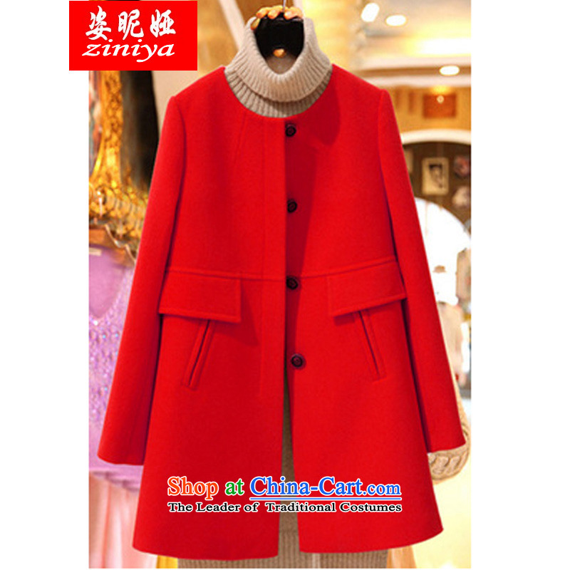 Gigi Lai Young Ah sister thick large wild COAT�15 autumn and winter to increase women's code in MM thick long thin hair? jacket graphics Red�L爎ecommended weight around 170-190 microseconds catty