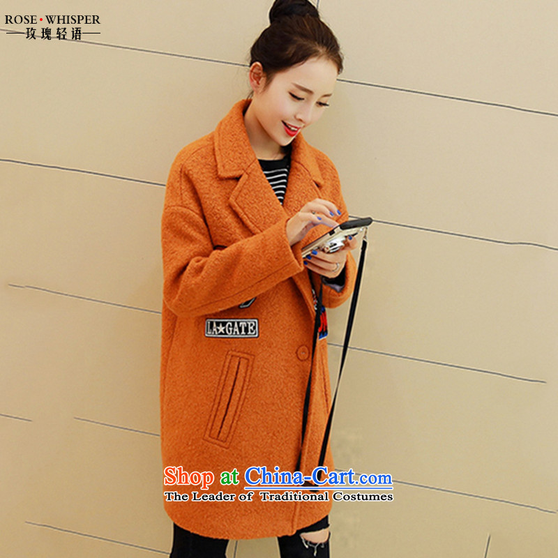 In light autumn and winter rose new products Korean female coats long-sleeved? gross jacket in long?_? a wool coat larger female MD597 orangeM
