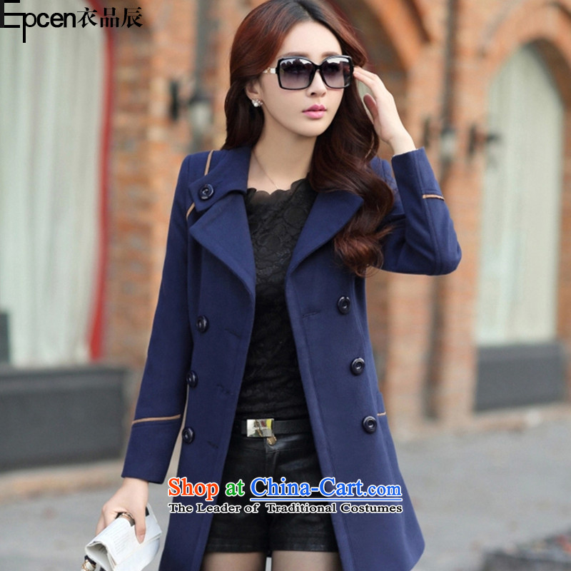 Yi Jin _epcen No. 2015 Fall_Winter Collections_ New Women Korean jacket in Sau San Mao? Long a wool coat GD6916 navy聽L