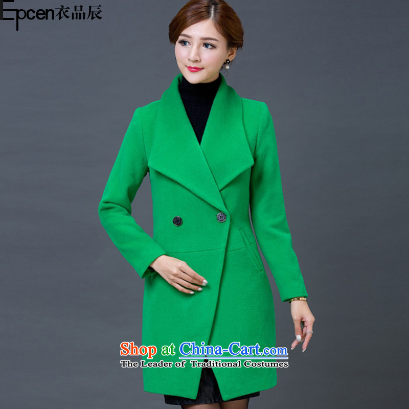 Yi Jin _epcen No. 2015_, autumn and winter New Women Korean lapel thick and long coats NRJ5842 gross green燲XXL?