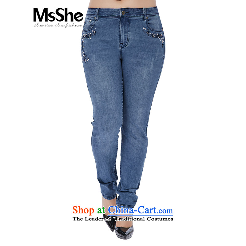 The Ventricular Hypertrophy code msshe women 2015 new winter clothing embroidery nail pearl cotton pop-thick MM jeans pants 10 586 employees Denim blue燭3