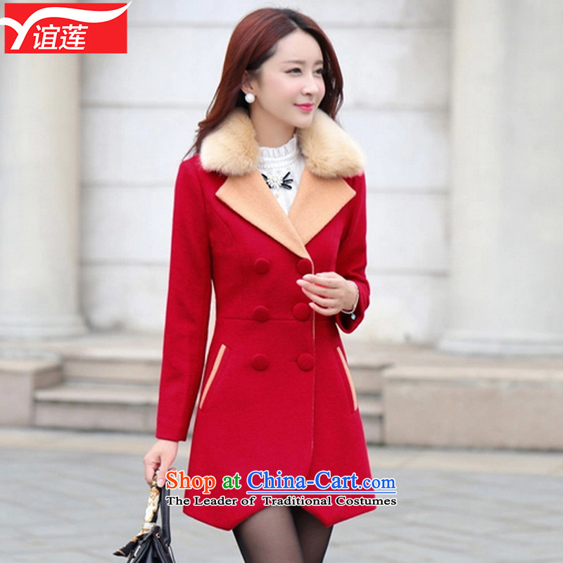 Yi Wu�15 autumn and winter new Korean double-jacket in gross? long suit coats Y362 for gross? red燣
