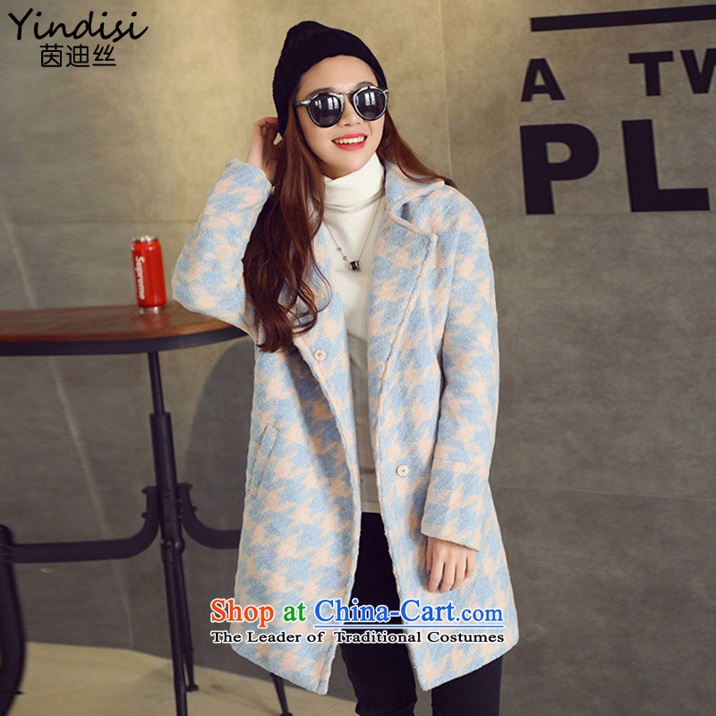 Athena Chu countryman 2015 autumn and winter new suit for stitching in gross? long jacket, Korea time stylish version a wool coat female figure color M