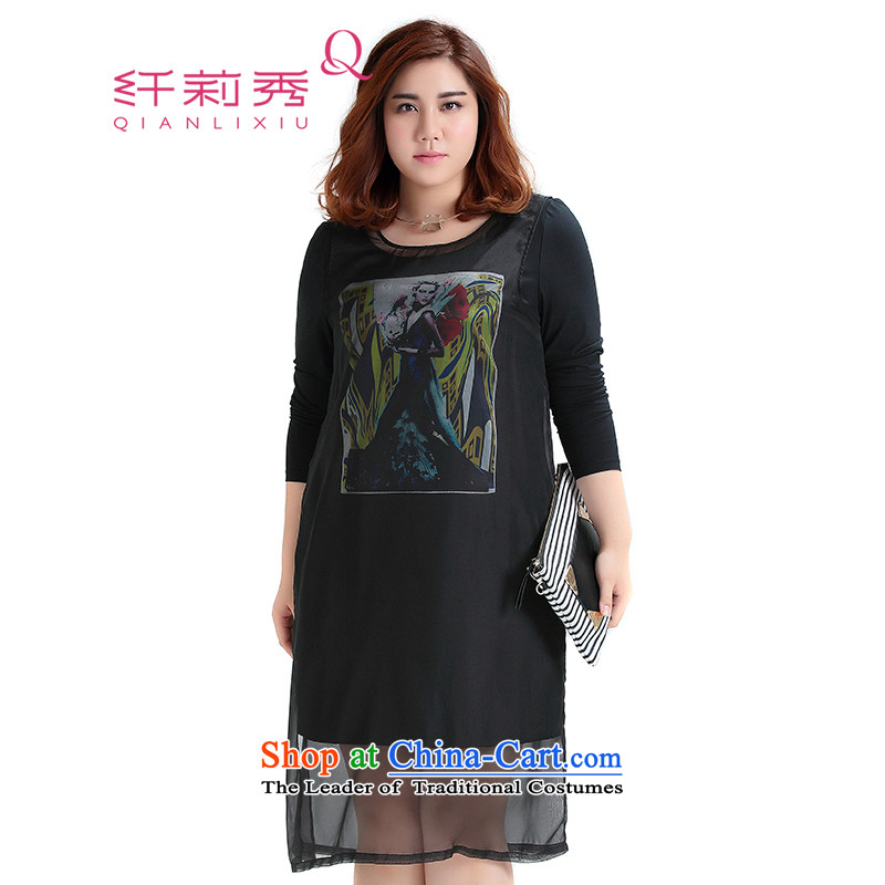The former Yugoslavia Li Sau-thick MM2015 larger women Fall_Winter Collections of new stamp chiffon with cotton knitted dresses 1-800-967-0765 black�L