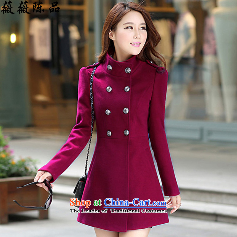 Weiwei Chen No. 2015 autumn and winter female new product gross Korean jacket?   in large thin graphics long a wool coat 70 17 wine red S