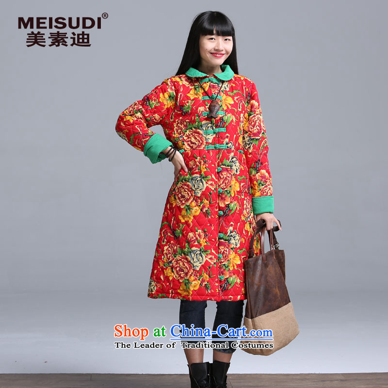 2015 winter clothing Korea MEISUDI version of large numbers of ethnic women detained suit in the Disc retro long jacket, loose video thin cotton waffle warm red2XL