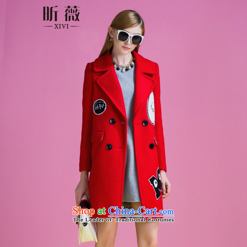 Ms Audrey Eu xivi xin gross coats female 2015 Winter? the new double row is long, thick stylish map Sau San Jacket coat Y754217 RED燤