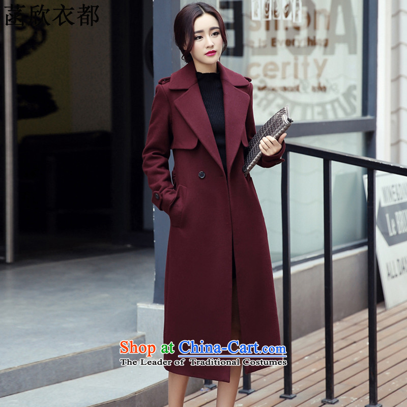 On the basis of Yan Yi are 2015 autumn and winter new Korean modern long cloak? coats women Sau San Mao F6076 deep red M
