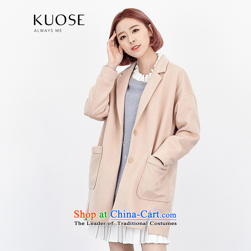 Wide Color Gamut 2015 autumn and winter new Korean Female Straight suits for pure color graphics thin wild thick?? Jacket coat gross meat apricot燬