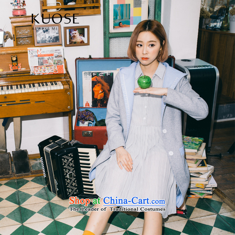 Wide Color Gamut 2015 autumn and winter new Korean Woman knocked over the medium to longer term, embroidered color thick with cap?? Jacket coat gross blue spell gray燬
