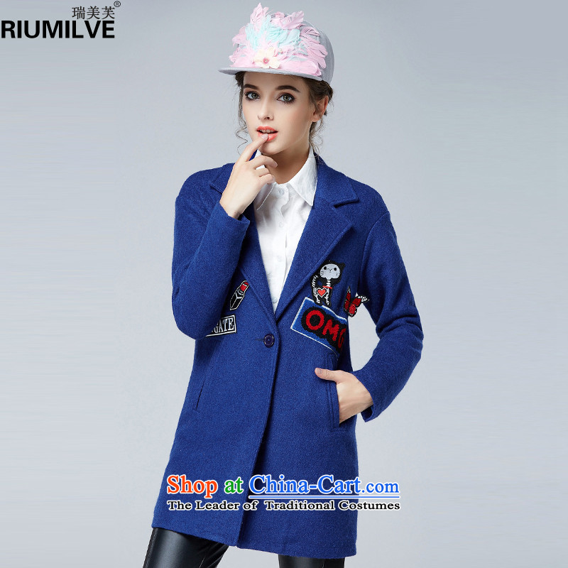 Rui Mei to�15 to increase the number of women with new Fall_Winter Collections Of Video thin stylish thick lapel cartoon decals wool coat jacket N1659?�L blue