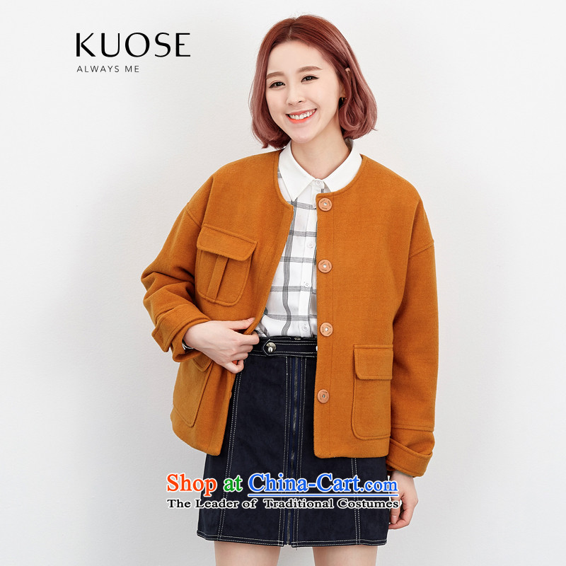 Wide Color Gamut 2015 autumn and winter new Korean Female Straight round-neck collar long-sleeved solid color stitching pocket short of the amount? and yellow are code Jacket