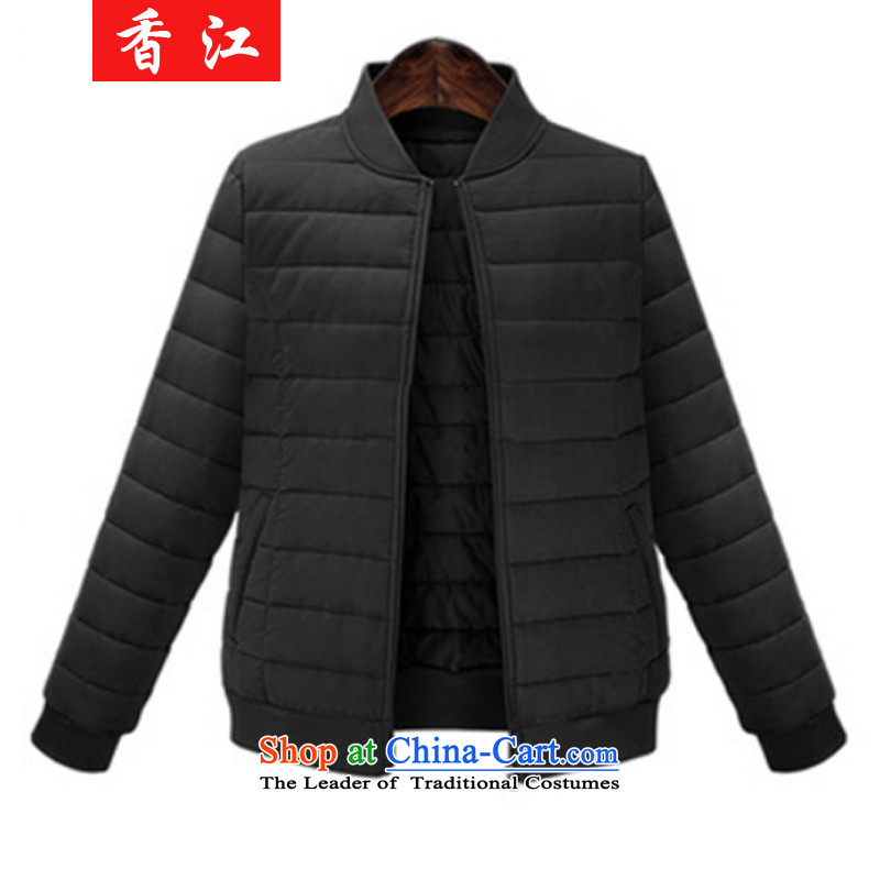 Xiang Jiang 200 catties mm2015 thick to xl female autumn and winter thick sister loose video thin cotton short baseball services 6358 jacket, black large 5XL code