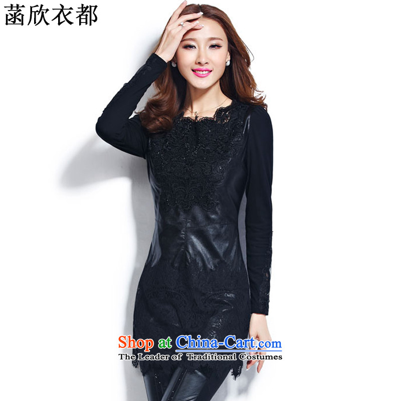 On the basis of Yan Yi are 2015 autumn and winter in new long lace forming the Netherlands Netherlands female PU small spelling piga lint-free t-shirt F6078 XXXXXL black