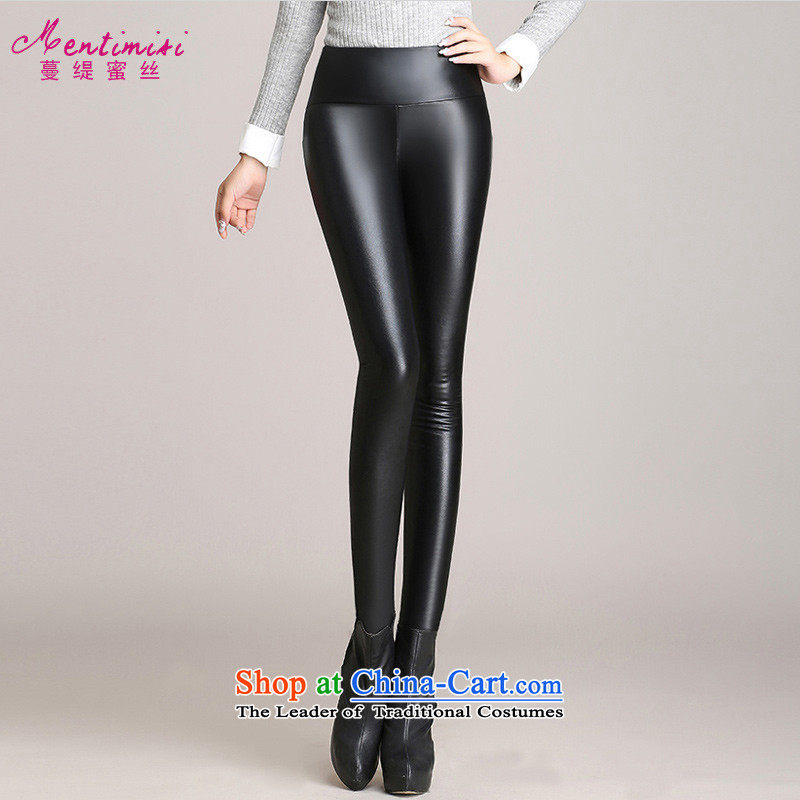 Golden Harvest large population honey economy women warm Sau San ladies pants Fall_Winter Collections Plus lint-free thick pu trousers 8318 Black Large 3XL code