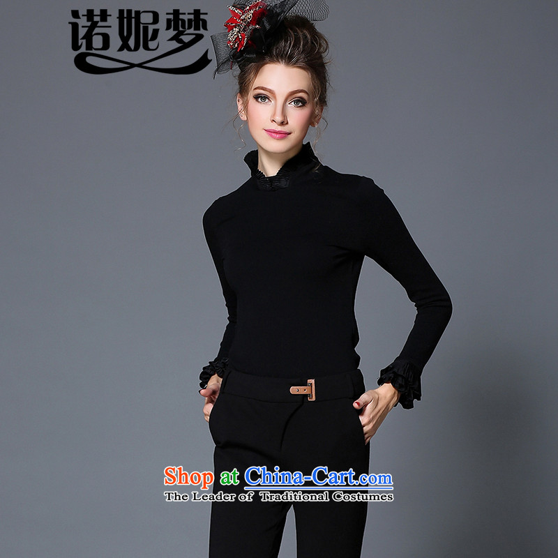 The Ni dream high-end large European and American Women 2015 winter new thick mm aristocratic wind billowy flounces long-sleeved shirt, forming the Sau San video female clothes G-q360�L black
