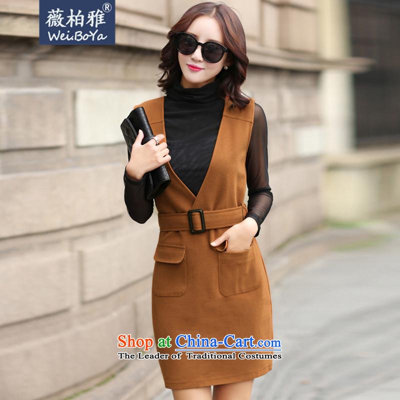 Ms Audrey EU Bai Ya by 2015 autumn and winter new Korean fashion Sau San two kits gross? 9149 skirt orange燲L
