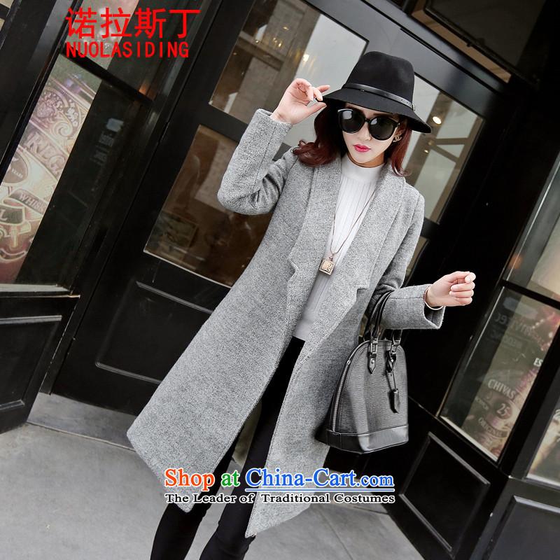 Noras Ding 2015 autumn and winter new Korean trendy code women lapel a wool coat in the long hair of Sau San? jacket female plus lint-free grayXL