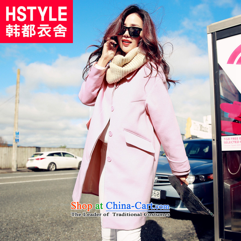 Korea has the Korean version of the Dag Hammarskjöld yi 2015 winter clothing new products with solid color graphics thin solid-colored loose hair? jacket EJ50222 Pink M
