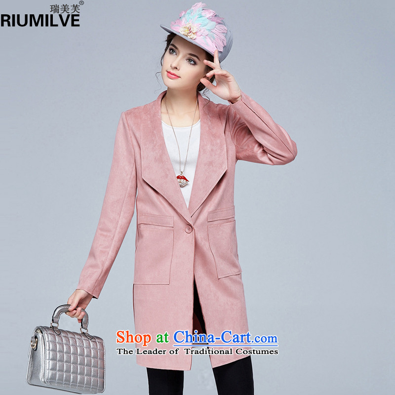 Rui Mei to?2015 to increase the number of women with new Fall_Winter Collections of thick video thin lapel suede coats that long jacket, N1370 pink?2XL