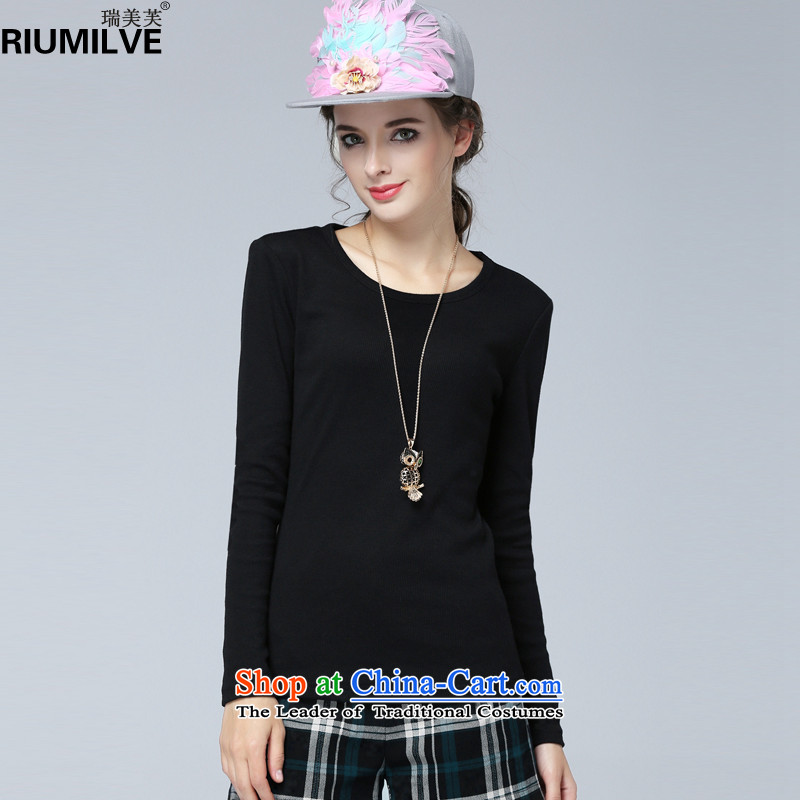 Rui Mei to 2015 to increase the number of women with new Fall_Winter Collections of thick video thin round-neck collar Sau San kit and long-sleeved T-shirt knitting sweater N1367 forming the black 4XL