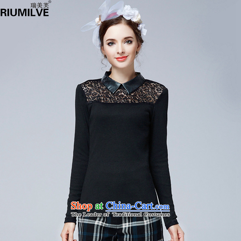 Rui Mei to 2015 to increase the number of women with new Fall_Winter Collections of thick video lapel thin lace stitching engraving long-sleeved shirt N1362 forming the knitting 3XL black